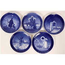 Five Christmas Plates Royal Copenhagen 1940, 1941, 1943,1944,1945  (116244)