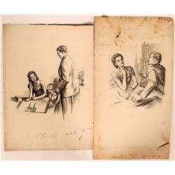 Women in Offices Pencil Drawings (2)  (110440)