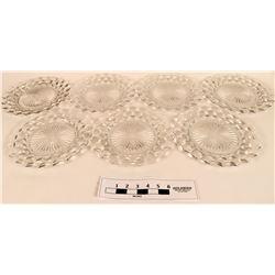 Fostoria American clear Crystal Cube Design Dinner Plates  (121561)