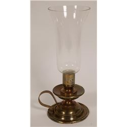 Brass Candle Holder with Glass  (109350)
