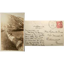 Bear River Idaho, real photo postcard, Oneida Narrows , pipeline through bridge beneath Dam  (119937