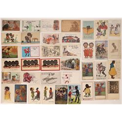 Black History - Artist or Publisher Signed Black Humor Vintage Postcards  (127111)