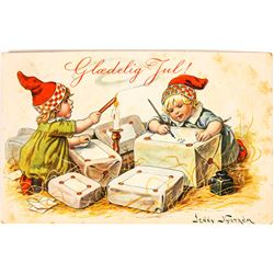 Gladelig Jul! Merry Christmas Art Card Signed by Jenny Nystrom  (118676)