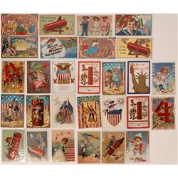 Fourth of July Firecracker Litho Postcards (70)  (125722)