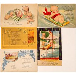 Five O'Neill Pre Kewpie Art Cards, Two Signed  (118677)
