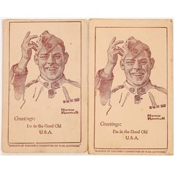 "Two Norman Rockwell Art Cards, Soldier says, ""I'm Back in the U.S.A.""  (118668)"