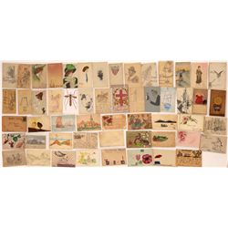 Hand-Drawn Art Postcards ~50  (125866)