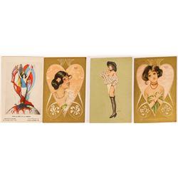 Four Raphael Kirchner Pinup Postcards, Art Nouveau Style  (118674)