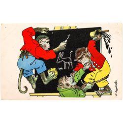 Monkeys at the Chalkboard Art Card by L. Maggendorfer  (118675)