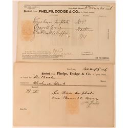 Phelps, Dodge & Co. Receipts with Imprinted Revenue Stamps  (113567)