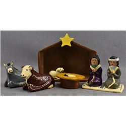 NAVAJO INDIAN POTTERY NATIVITY SCENE  ( ELIZABETH MANYGOATS)