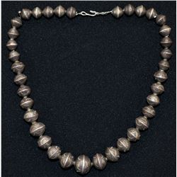 NAVAJO INDIAN SILVER BEAD NECKLACE