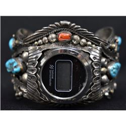 NAVAJO INDIAN WATCH BRACELET (LEE H NEZ)