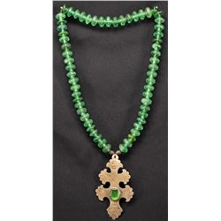 RUSSIAN TRADE BEAD NECKLACE WITH A SILVER HUDSON BAY CROSS