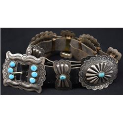NAVAJO INDIAN STERLING SILVER AND TURQUOISE CONCHO BELT