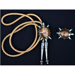 NAVAJO INDIAN BOLO AND EARRINGS