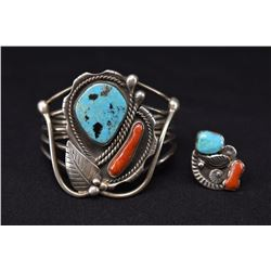 NAVAJO INDIAN BRACELET AND RING SET