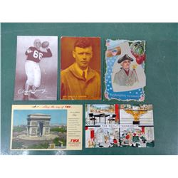 Football and Lindbergh Postcards Etc.