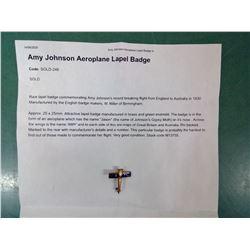Rare Amy Johnson Solo Flight Pin