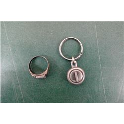 Sterling Ring and Curling Keychain