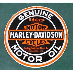 """Harley Davidson Porcelain Sign 16"""" dia"""