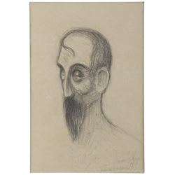 "Edward Hopper original pencil drawing of ""Jean Valjean"" from Victor Hugo's epic novel Les Misérables"