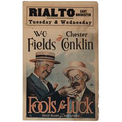 W. C. Fields window card for Fools for Luck.