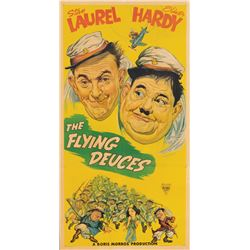 Stan Laurel and Oliver Hardy three-sheet poster for Flying Deuces.