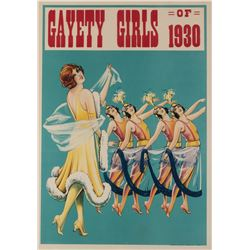 Gayety Girls of 1930 (2) theater pin-up posters on linen.