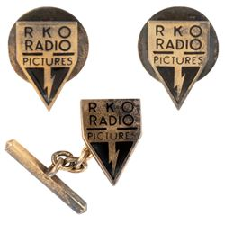 RKO Radio Pictures (2) shirt studs and (1) tie tack.