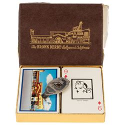 The Brown Derby (1) money clip with boxed set of (2) decks of Brown Derby playing cards.