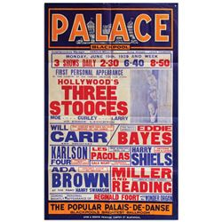 Moe Howard poster for The Three Stooges' 1st UK appearance at The Palace in Blackpool, England.
