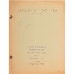 """Moe Howard's script for """"The Three Stooges"""" film Boobs in Arms with self-portrait & signature by Moe"""