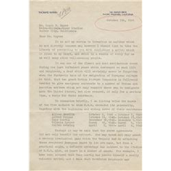 Thomas Mann signed letter to Louis B. Mayer of M-G-M Studios.