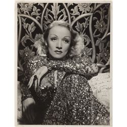 Marlene Dietrich oversized signed photograph.