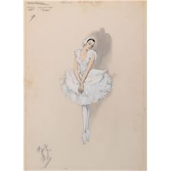 "Maria Tallchief ""Pavlova"" costume sketch by Helen Rose for Million Dollar Mermaid."