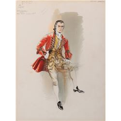 """Stewart Granger """"Thomas Seymour"""" (2) costume sketches by Walter Plunkett for Young Bess."""