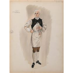 """George Sanders """"Dr. Odell"""" costume sketch by Walter Plunkett for The Scarlet Coat."""