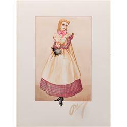 """Elizabeth Taylor """"Amy"""" recreation costume sketch by Walter Plunkett for Little Women."""