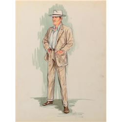 """Clark Gable """"Hank Lee"""" costume sketch by Jack Muhs for Charles LeMaire for Soldier of Fortune."""