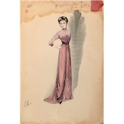 """Jessie Royce Landis """"Princess Beatrix"""" (5) costume sketches by Helen Rose for The Swan."""