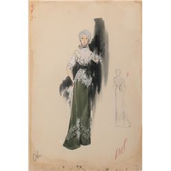"""Estelle Winwood """"Symphorosa"""" (5) costume sketches by Helen Rose for The Swan."""