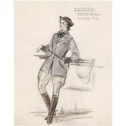 "Elizabeth Taylor ""Leslie Benedict"" costume sketch by Marjorie Best for Giant."