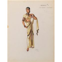 """Ralph Jester (2) costume sketches for Omar Khayyam including 1- Debra Paget """"Sharain""""."""