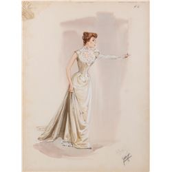 """Shirley MacLaine """"Dell Payton"""" costume sketch by Walter Plunkett for The Sheepman."""