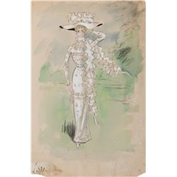 """Cecil Beaton """"Royal Ascot"""" style dress costume sketch from My Fair Lady."""