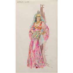 """Marjorie Best """"Herod's Wife"""" costume sketch for The Greatest Story Ever Told."""