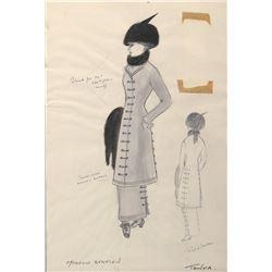 "Geraldine Chaplin ""Tonya"" (2) costume sketches by Phyllis Dalton for Doctor Zhivago."