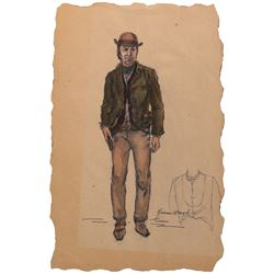 """Frank Sinatra """"Dingus Billy Magee"""" costume sketch by Yvonne Wood for Dirty Dingus Magee."""
