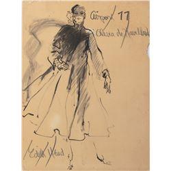 "Olivia de Havilland ""Emily Livingston"" costume sketch by Edith Head for Airport 77."
